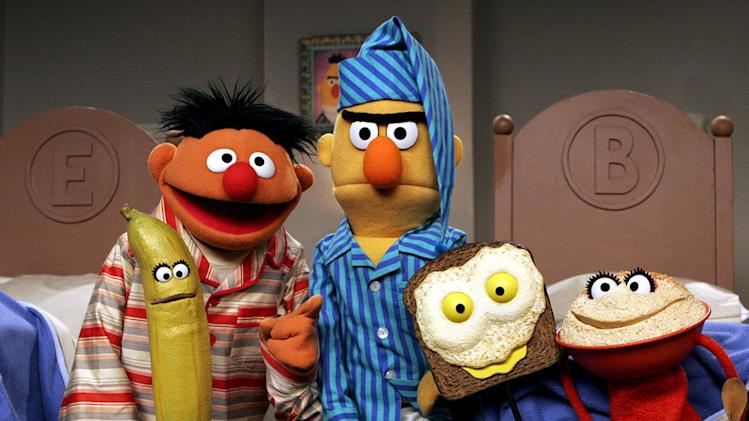 Ernie & Bert in Sesame Street on PBS.
