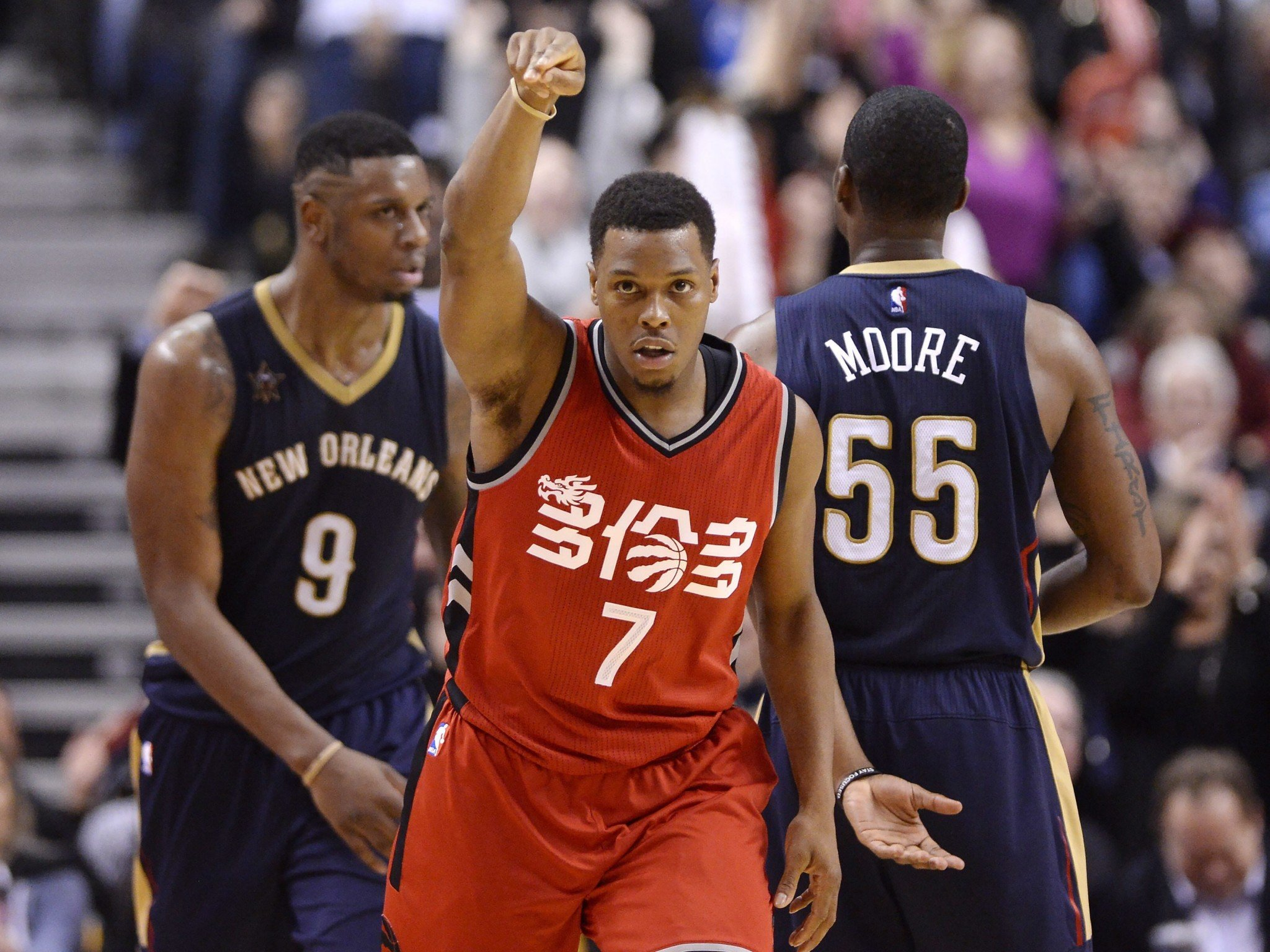 Kyle Lowry didn't need much room to plunge a dagger into the Pelicans' hearts. (AP)