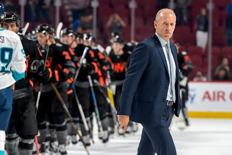 MONTREAL, QC - SEPTEMBER 11: Team Europe's head coach Ralph Krueger looks on as he walks past the players during the pre-tournament World Cup of Hockey game against Team North America at the Bell Centre on September 11, 2016 in Montreal, Quebec, Canada. Team North America defeated Team Europe 7-4. (Photo by Minas Panagiotakis/World Cup of Hockey via Getty Images)