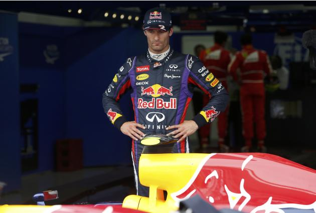 Red Bull Formula One driver Webber looks on after the qualifying session for the Korean F1 Grand Prix in Yeongam