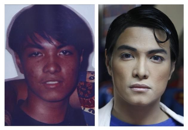 A combination photo shows Herbert Chavez before and after his cosmetic transformation to look more like the comic book character Superman in Calamba Laguna, south of Manila