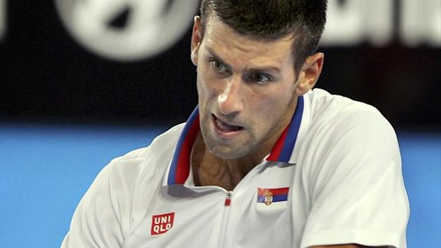 Novak Djokovic of Serbia in action at the Hopman Cup in Perth