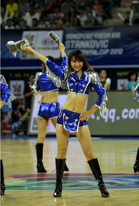 Chinese cheerleaders entertain the crowd