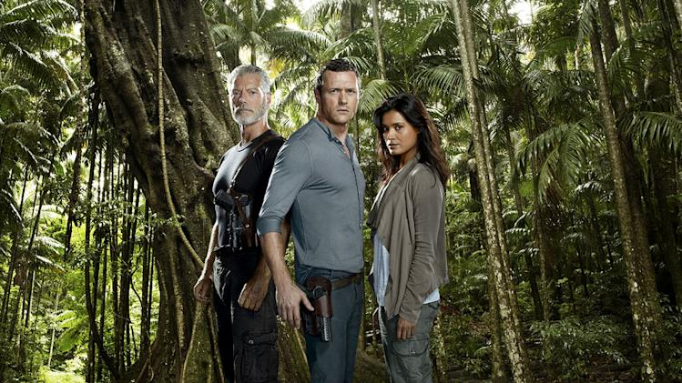 "Stephen Lang, Jason O'Mara and Shelley Conn star in ""Terra Nova."""