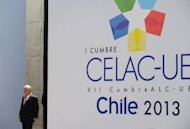 Chilean President Sebastian Pinera arrives for the opening of the Latin American and Caribbean States-European Union Summit in Santiago, on January 26, 2013. European and Latin American leaders pledged to shun protectionism and boost their strategic partnership to foster free trade.