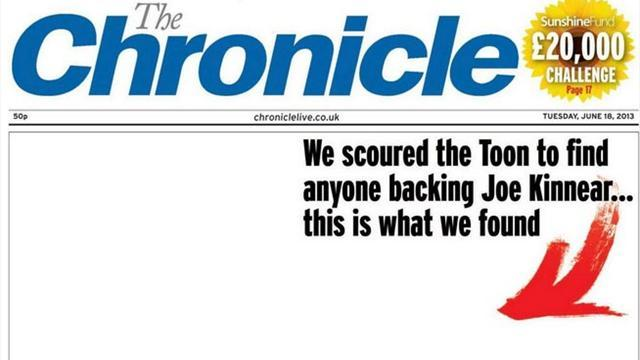 Premier League - Chronicle's cheeky front page on Joe Kinnear's Newcastle return