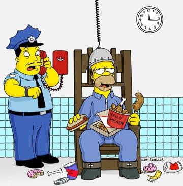 Homer (voiced by Dan Castellaneta) is sent to the chair in the episode 'The Frying Game.' Fox's The Simpsons