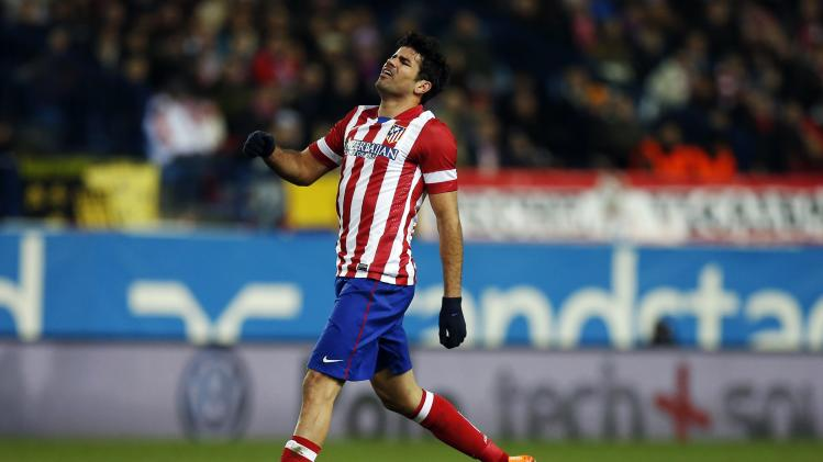 Atletico Madrid's Costa reacts after missing a chance to score against Athletic Bilbao during their Spanish King's Cup quarter-final first leg soccer match in Madrid