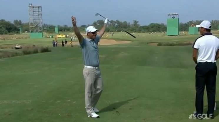Jaco Van Zyl celebrates an ace at the Olympic golf tournament.