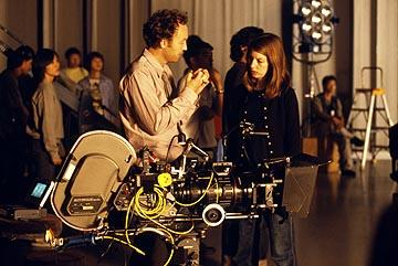 Cinematographer Lance Acord and director Sofia Coppola on the set of Focus' Lost in Translation