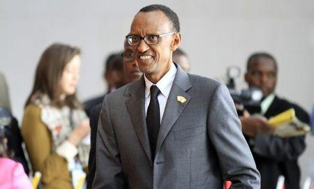 Rwanda's President Paul Kagame arrives for the extraordinary session of the African Union's Assembly of Heads of State and Government on the case of African Relationship with the International
