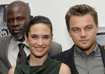 Djimon Hounsou , Jennifer Connelly and Leonardo DiCaprio at the New York premiere of Warner Bros. Blood Diamond