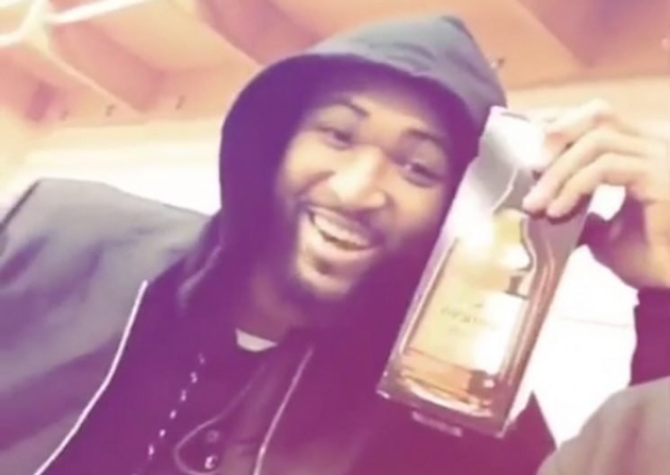 DeMarcus Cousins should star in the next Hennessy ad. (Snapchat)