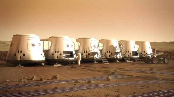 Artist's depiction of Mars One astronauts and their colony on the Red Planet. (SPACE.com)