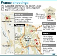 Chronology of the shootings and subsequent police raid on Wednesday in the city of Toulouse, southwest France. French police laid siege Wednesday to an apartment block where a self-declared Al-Qaeda militant who claimed a series of deadly attacks on troops and Jewish children was holed up