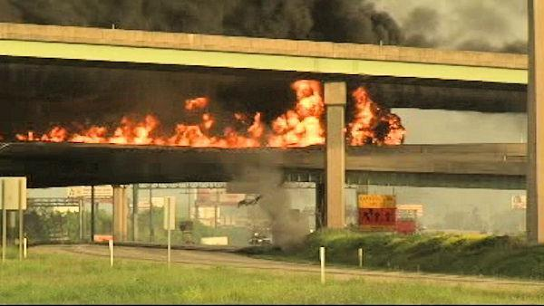 Fiery diesel truck crash sets ramp ablaze, closes I-81 at Harrisburg