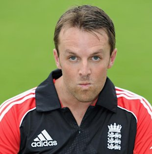 Swann makes a face during a photo-op in Hyderabad earlier this week.