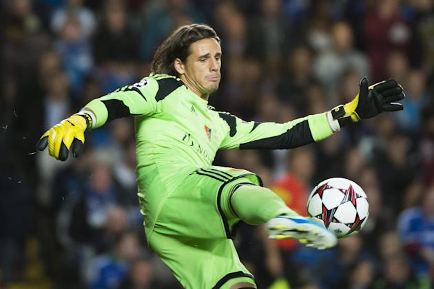 In this Sept. 18, 2013 file picture Basel's goalkeeper Yann Sommer,  defends during the UEFA Champions League first round group E soccer match between Britain's Chelsea FC and Switzerland'