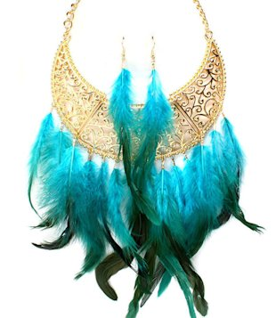 Feather Bib Necklace-Turquoise