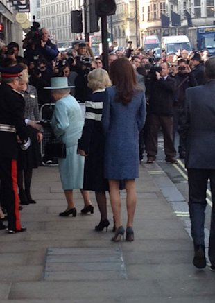 Kate Middleton Wearing a Blue Coat Dress at Fortnum & Mason TODAY!