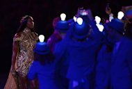 British model Naomi Campbell performs at the Olympic stadium during the closing ceremony of the 2012 London Olympic Games in London