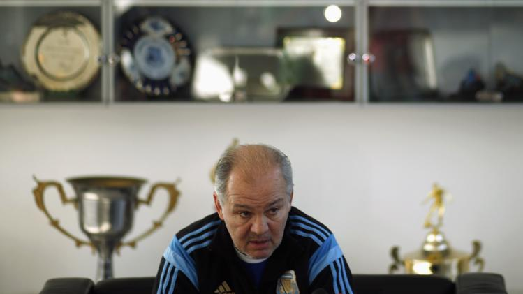 Alejandro Sabella, head coach of Argentina's national soccer team, speaks during an interview at the squad's headquarters in Buenos Aires