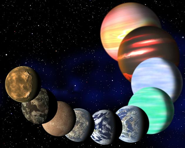 This artist rendering released Monday Jan. 7,2013 by Harvard-Smithsonian Center for Astrophysics shows the different types of planets in our Milky Way galaxy detected by NASA's Kepler spacecraft. A ne
