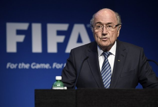 FIFA President Sepp Blatter speaks during a press conference at the FIFA headquarters in Zurich, Switzerland, Tuesday, June 2, 2015. Blatter says he will resign from his position amid corruption scandal. (Ennio Leanza/Keystone via AP)