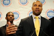 Derek Fisher, President of the NBA Players Association at a press conference on October 20. NBA players made their first moves toward ratifying a tentative settlement agreement with team owners, starting the process of recertifying their union so they can vote on a new deal