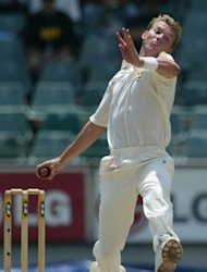Australian pace bowler Brett Lee releases the ball during a Test match against South Africa, at the Wanderers Cricket grounds in Johannesburg, in 2002. Lee has announced his retirement from international cricket after a 13-year career, saying his body and mind were no longer up to the stresses of touring