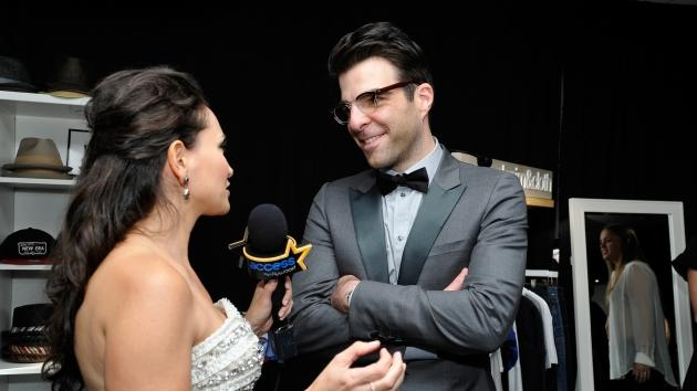 AccessHollywood.com's Laura Saltman chats with Zachary Quinto inside the Presenters Gift Lounge Backstage At The Nokia Theatre on Emmys Sunday -- WireImage