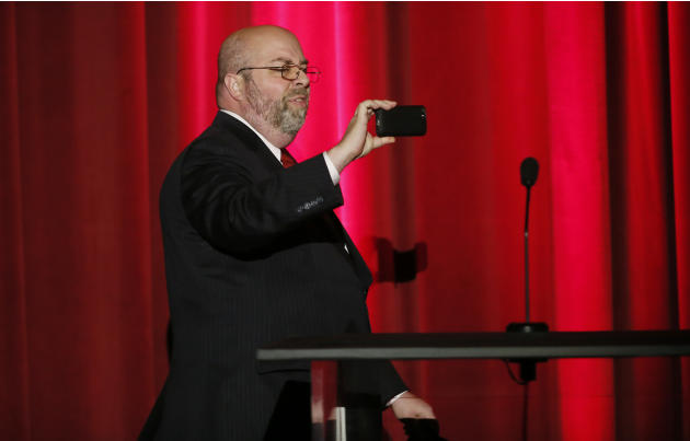 David H. Lawrence XVII presents a College Television Award at the 35th College Television Awards, presented by the Television Academy Foundation at The Leonard H. Goldenson Theatre in the NoHo Arts Di