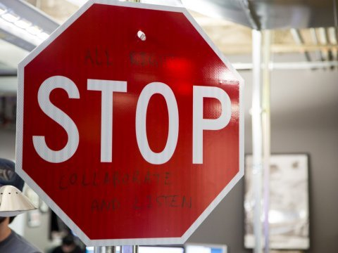 facebook offic tour ny stop sign