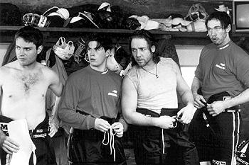 Michael Buie, Ryan Northcott, Russell Crowe and Kevin Durand in Mystery, Alaska