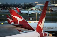 Qantas planes are seen on the tarmac at Sydney International Airport, on June 12. Qantas chief executive Alan Joyce has ruled out an equity raising despite the embattled airline's flailing share price, but is preparing a high-level team to ward off any possible hostile takeovers