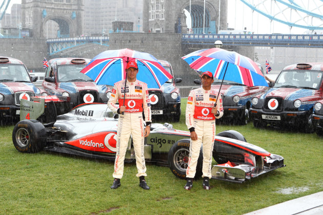 McLaren Mercedes F1 drivers, Lewis Hamilton and Jenson Button, ahead of the British Grand Prix