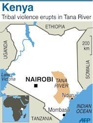Map of Kenya locating tribal violence in Tana River region. At least 10 people were killed and several wounded in a retaliatory dawn raid Thursday in the Tana River delta region of southeast Kenya, the latest violence to flare up in an area where scores died in clashes last year, Kenya Red Cross said