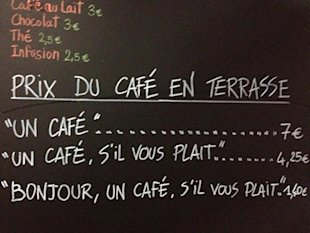 French Cafe Charges Extra to Rude Customers image french rude customer service charge