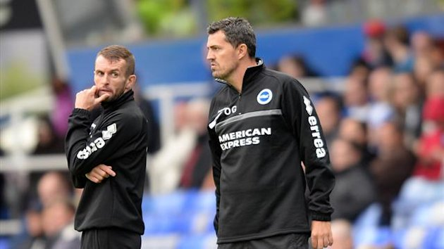 Brighton & Hove Albion manager Oscar Garcia and assistant Nathan Jones (left) (PA Photos)