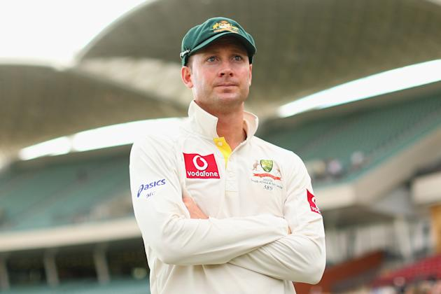 ADELAIDE, AUSTRALIA - NOVEMBER 26:  Australian captain Michael Clarke looks on following the end of play on day five of the Second Test Match between Australia and South Africa at Adelaide Oval on Nov