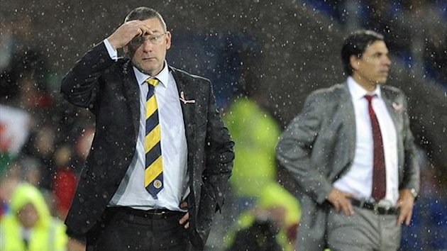 Craig Levein watches during Scotland's 2-1 defeat to Wales