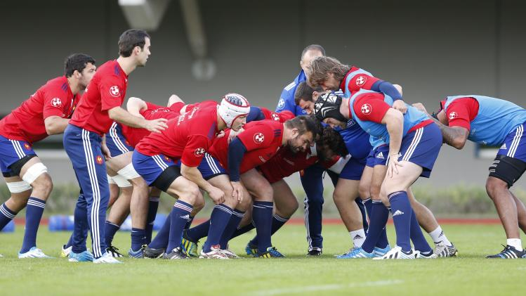 France national rugby team players attend a training session at the Rugby Union National Centre in Marcoussis, south of Paris