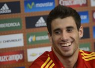 Spanish midfielder Javi Martinez attends a news conference in Gniewino, Poland on June 21, 2012. The Bayern Munich midfielder is set to face Arsenal Champions League clash, coach Jupp Heynckes said, after the Spain star recovered from a foot injury