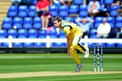 CARDIFF, WALES - JUNE 01: James Faulkner bowls for Australia at the SWALEC Stadium on June 1, 2013 in Cardiff, Wales. (Photo by Matthew Horwood/Getty ...