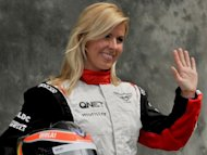 Marussia test driver Maria De Villota, pictured in March 2012, is making a remarkable recovery from last week's horrific crash which resulted in her losing her right eye, her F1 team reported on Wednesday