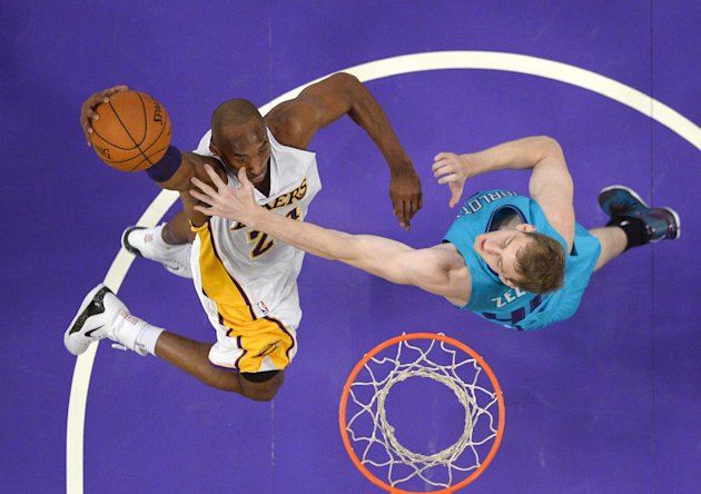 Los Angeles Lakers guard Kobe Bryant, left, puts up a shot as Charlotte Hornets center Cody Zeller defends during the first half of an NBA basketball game, Sunday, Nov. 9, 2014, in Los Angeles. The Lakers won 107-92. (AP Photo/Mark J. Terrill)