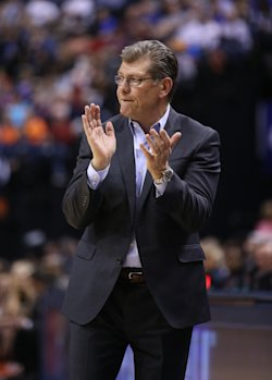 Geno Auriemma and the Huskies are seeking their fourth straight national title. (Getty Images)