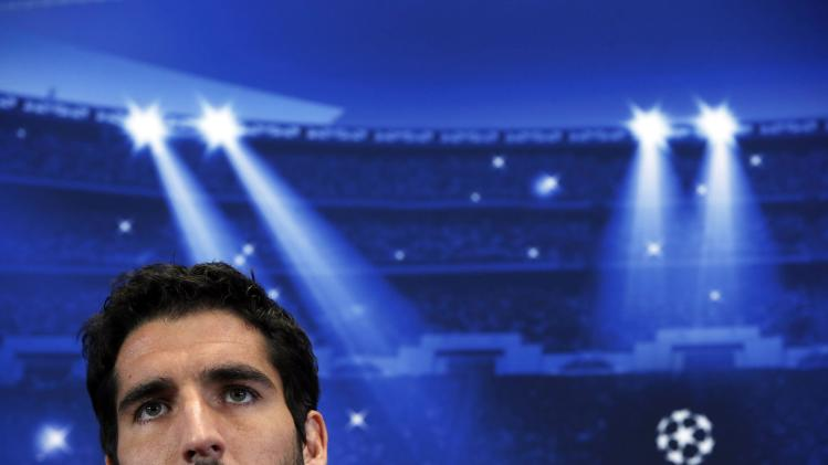 Atletico Madrid's Raul Garcia attends a news conference at Vicente Calderon stadium in Madrid
