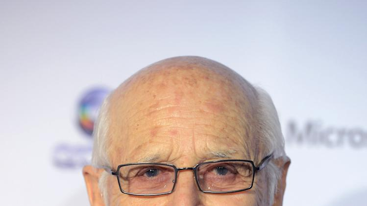 "Norman Lear, creator of the TV hits ""The Jeffersons,"" ""One Day at a Time,"" ""Good Times,"" and ""All in the Family,"" arrives for the 40th International Emmy Awards,  Monday, Nov. 19, 2012 in New York.  (AP Photo/Henny Ray Abrams)"