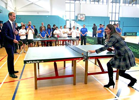 Kate Middleton Plays Ping Pong in Heels While Six Months Pregnant: Picture